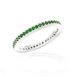 แหวน LENYA ETERNAL ประดับด้วย SWAROVSKI ZIRCONIA สีเขียว ตัวเรือนเงินแท้ชุบทองคำขาวแท้ ดีไซน์แบบแถวเดี่ยวเต็มวง สวยคลาสสิค