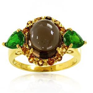 แหวนพลอยสวยโดดเด่นไม่เหมือนใคร ประดับพลอยสโมคกี้ควอทซ์และพลอยโครมไดออฟไซด์ ตัวเรือนเงินแท้ชุบทองคำ