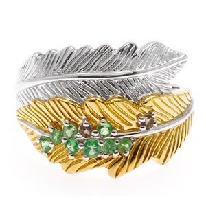 แหวน LenYa ดีไซน์ทรงใบไม้ 2 ใบประดับพลอย ซาโวไรท์ (Tsavorite) และสโมคกี้ควอทซ์ (Smoky Quartz) ตัวเรือนเงินแท้ชุบสีแบบทูโทน ชุบทองคำขาว และทองคำแท้