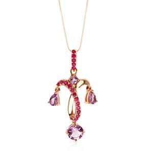 จี้ดีไซน์แชนเดอเลีย ประดับพลอยอะเมทิสต์(Amethyst) สีม่วง และ ทับทิม(Ruby) สีชมพู ตัวเรือนเงินแท้ชุบสีพิ้งค์โกลด์