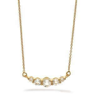 สร้อยคอเงินแท้ 925 ประดับพลอยสีขาว ไวท์โทแพซ ( White Topaz )  ชุบทอง18 เค ดีไซน์สุดน่ารักในลุคสาวหวาน สดใส เพิ่มเสน่ห์ดึงดูดในตัวคุณ