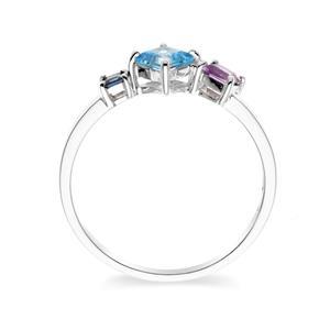 แหวนโทแพซสีฟ้า (Blue topaz ) อเมทีสต์ (Amethyst) และไพลิน (Blue Sapphire) ตัวเรือนเงินแท้ 925 ชุบโรเดียม