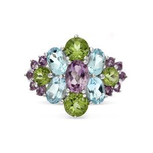 แหวนเงินแท้ ประดับพลอยอเมทิสต์ (Amethyst) บลูโทแพซ (Blue Topaz) เพอริดอท (Peridot)