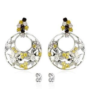 ต่างหูเงินแท้ 925 ชุบทองขาว ประดับบุษราคัม (Yellow Sapphire) สโมคกี้ควอทซ์ (Smoky Quartz) เพชร DiamondLike  ฉลุลายดอกไม้น่ารัก