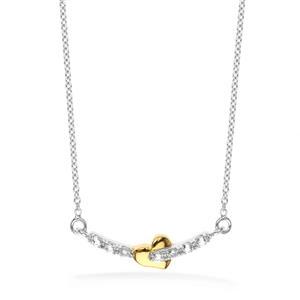 สร้อยคอเงินแท้ 925 ชุป2สี ตัวเรือนทองคำขาว (White Gold) ดีไซน์โดดเด่นด้วยรูปหัวใจขัดเงาชุปด้วยทอง (Yellow Gold) สื่อความหมายในรัก ประดับด้วยพลอยสีขาวไวโทแพซ White Topaz รักที่ต้องการครอบครอง