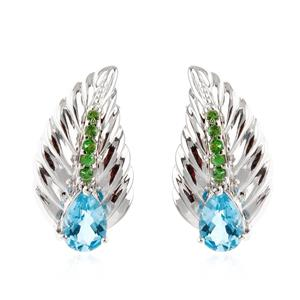 ต่างหูเงินแท้ 925 ดีไซน์ใบใม้สวยงาม ชุบทองขาว ประดับด้วยพลอย บลูโทแพซ(Blue Topaz) และ ซาโวไรท์(Tsavorite) สีเขียวสดใส