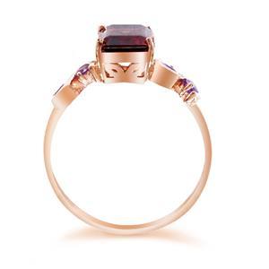 แหวนพลอย โกเมน(Garnet)  และ อเมทีสต์ (Amethyst)  ตัวเรือนเงินแท้ 925 ชุบทองพิ้งค์โกลด์