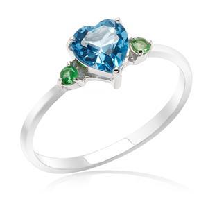 แหวนพลอยหัวใจบลูโทแพซ(Blue Topaz) สีฟ้า พร้อมด้วย ซาโวไรท์(Tsavorite) สีเชียวเม็ดเล็กสดใส ตัวเรือนเงินแท้ ชุบทองคำขาว เสริมรสนิยม สวยสง่า ดูดี
