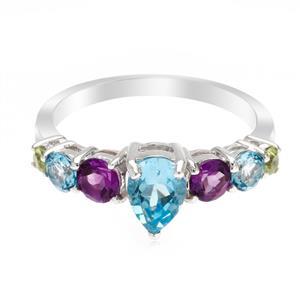 แหวนตัวเรือนเงินแท้ 925 ชุบทองขาว ประดับด้วยพลอย บลูโทแพซ(Blue Topaz) สีฟ้า อเมทีสต์ (Amethyst) สีม่วง และ  เพอริดอท(Peridot) นิ้วแบบไหน ใส่แหวนวงนี้ก็สวยได้