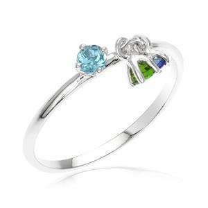 แหวนประดับพลอยแท้ 3 เฉดสี บูลโทแพซ (Blue Topaz),ไพลิน(Blue Sapphire)และ โครมไดออฟไซด์(Chrome Diopside) ตัวเรือนเงินแท้ ชุบทองคำขาว สวมใส่ได้ทุกโอกาส
