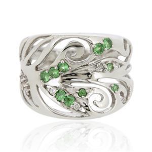 แหวนพลอย ซาโวไรท์(Tsavorite) และ คิวบิกเซอร์โคเนีย (Cubic Zirconia) ตัวเรือนเงินแท้ 925 ชุบทองขาว เลือกแหวนให้เหมาะกับนิ้ว เสริมรสนิยม สวยสง่า ดูดี
