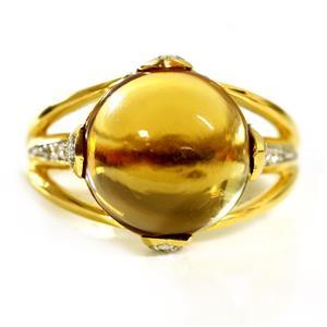 แหวนพลอยวิสกี้ควอตซ์(Whisky Quartz) รูปทรงกลมมน สวยเด่นมีดีไซน์ บนตัวเรือนเงินแท้ชุบทองคำ