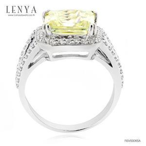 แหวนเพชร DiamondLike สีเหลือง ล้อมด้วย CZ เป็นวงกลมประดุจดาวล้อมเดือน ดูหรูหรา เลอค่า น่าเป็นเจ้าของ