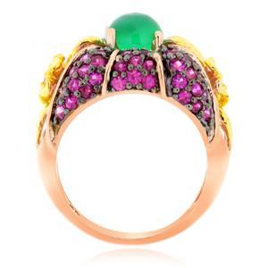 แหวนพลอย 3 สี อะเกต(Agate) ทับทิม(Ruby) บุษราคัม(Yellow Sapphire) ดีไซน์รูปทรงดอกไม้ บนตัวเรือนเงินแท้ชุบพิงค์โกลด์