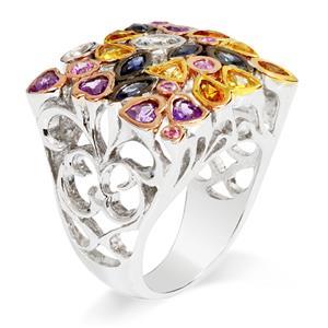 แหวนพลอย 3 ชนิด แซฟไฟส์หลากสี(Sapphire) ซิทริน(Citrine) อเมทิสต์(Amethyst) ดีไซน์รูปทรงสี่เหลี่ยมสุดเก๋ไก๋ บนตัวเรือนเงินแท้ชุบทองคำขาว