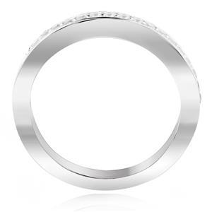 แหวนเพชร DiamondLike ดีไซน์แบบแถวเดี่ยว ดูสวยคลาสสิคสุดๆ บนตัวเรือนเงินแท้ชุบทองคำขาว