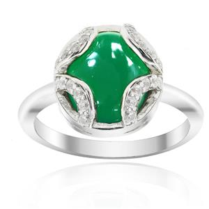 Rhodium Plated Silver Ring with Green Agate and Cubic Zirconia