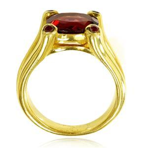 แหวนเงินแท้ชุบทอง 14K ประดับพลอยโกเมน