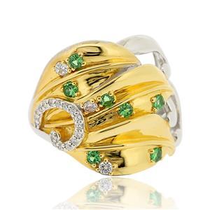 แหวนซาโวไรท์(Tsavorite) และคิวบิคเซอร์โคเนีย ตัวเรือนเงินแท้ชุบทองและทองคำขาว
